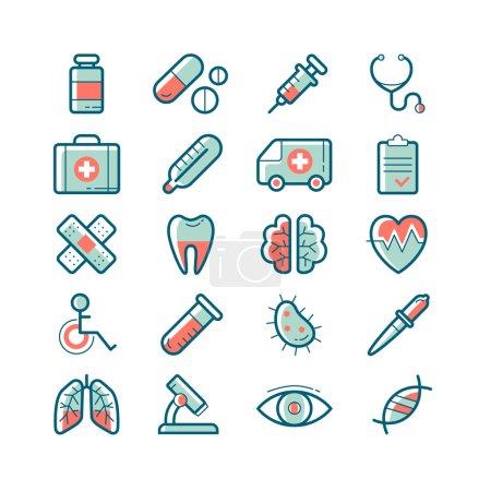 Illustration pour Ensemble d'icônes médicales vectorielles mignonnes - image libre de droit