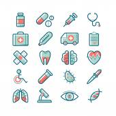 Set of cute vector medical icons