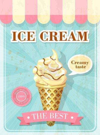 Illustration pour Affiche vintage avec crème glacée - image libre de droit