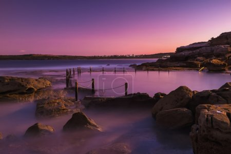 Sunset at the rock pool on Maroubra beach