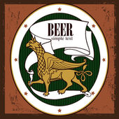 Beer design Label contains images of griffin beer label pattern on vintage background