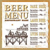 Beer menu contains images of sea-scape with menplace for text and price Beer menu Vintage style