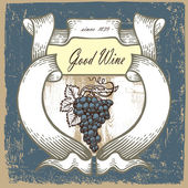 Wine label with grapes on vintage backgroundribbon and text