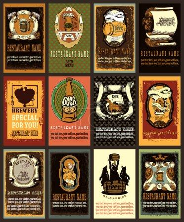 Illustration pour Ensemble d'étiquettes de bière contient des images de verre de bière, coeurs punk vapeur, brasserie, ours sur bière, timbres, prix et place pour le texte. Style vintage. Style vintage . - image libre de droit