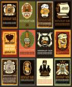 Beer labels set contains images of beer glasssteam punk heartsbrewerybears on beer tunstampsprice and place for text Vintage style Vintage style