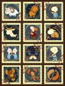 Set of postage stamps with zodiac signs