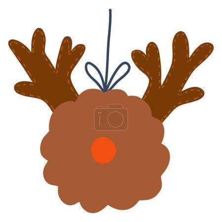Illustration pour Christmas tree decoration,pompon deer.Vector hand drawn cartoon illustration. - image libre de droit