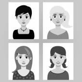 Sada čtyř dívek portrét
