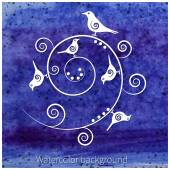 Several birds on the spiral branches on watercolor blue background