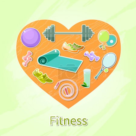 Fitness and sport objects in heart
