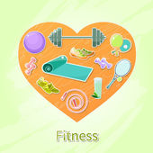 Vector Objects for fitness and sport in orange heart Wellness Cute bright pictures