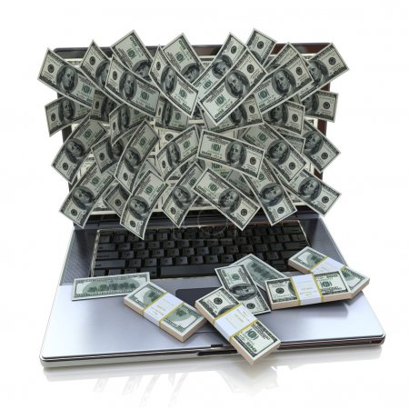 Money pouring out from laptop, Online earning