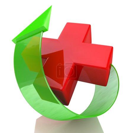Photo pour La Croix-Rouge et la flèche dans la conception de l'information relie à la médecine - image libre de droit