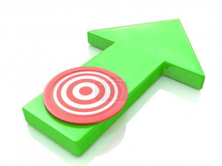 Green arrow direction to the target