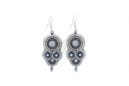 Earrings made of gray beads with stone