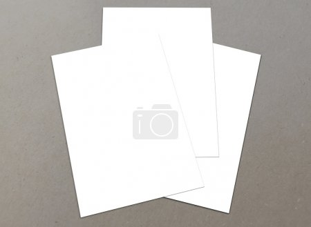 Blank white paper A-4 flyer collection on floor