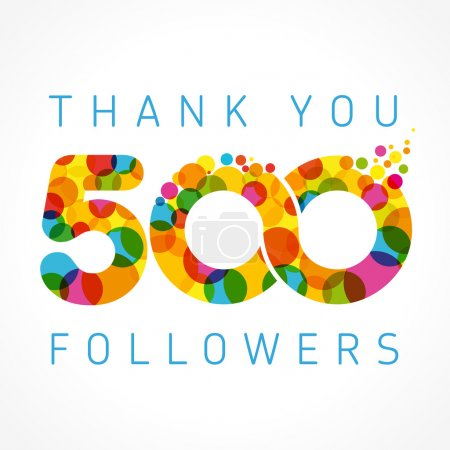 Thank you 500 followers colored numbers