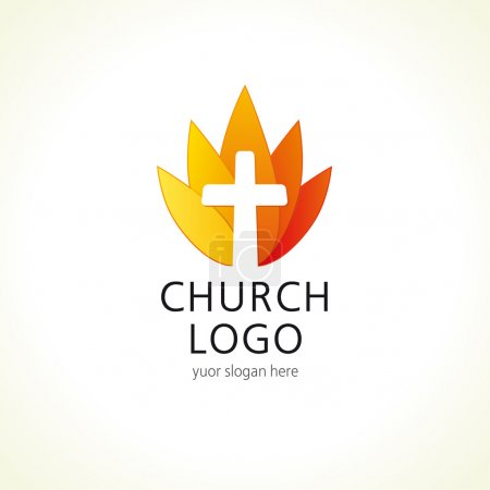 Cross on fire christian church logo.