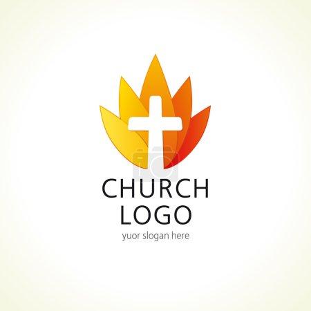 Cross on fire christian church logo.