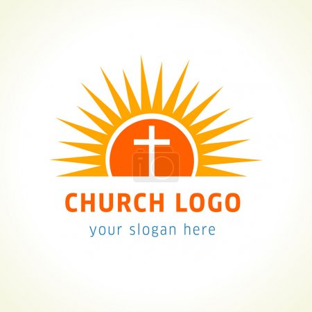 Cross on sun light orange vector logo.