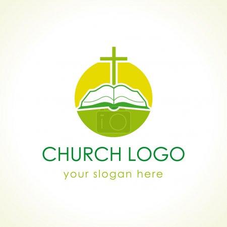 Cross on the bible green logo