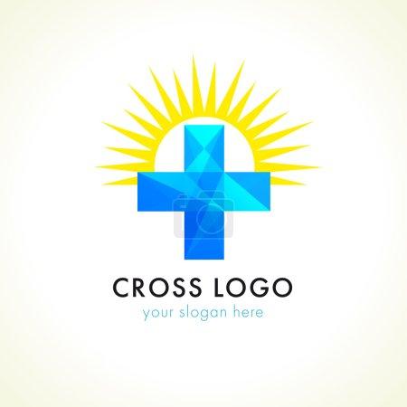 Blue facet cross and sun.