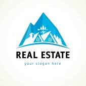 Houses in mountains vector logo