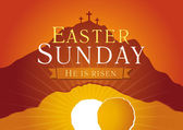 Easter Sunday He is risen Greetings invite vector card Calvary sunrise with three crosses open lighting empty cave and stone Religious symbol Holy week flyer template Bible story illustration