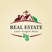 Real estate near wood zone vector logo House for sale sign