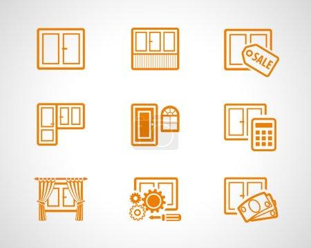 Illustration pour Fenêtre et portes en verre logo liste. Ensemble d'icônes web vectorielles de fenêtres en plastique pour l'industrie du bâtiment, réparation et mise à jour de l'entreprise. Fenêtres, portes équipements symboles d'entreprise pour la page Web Internet . - image libre de droit