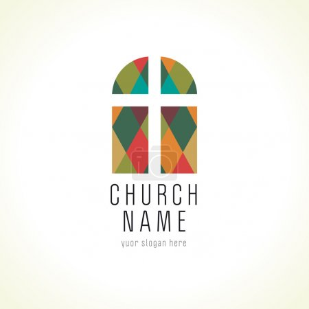 Church cross window logo, old arc window vector logo.