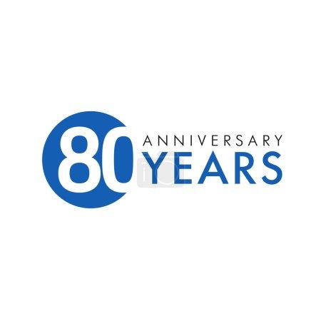Illustration pour Logo rond de 80 ans. Année anniversaire de 80 numéros de bannière vectorielle. Cercle de salutations d'anniversaire célèbre. Célébration des chiffres. Figures colorées des âges . - image libre de droit
