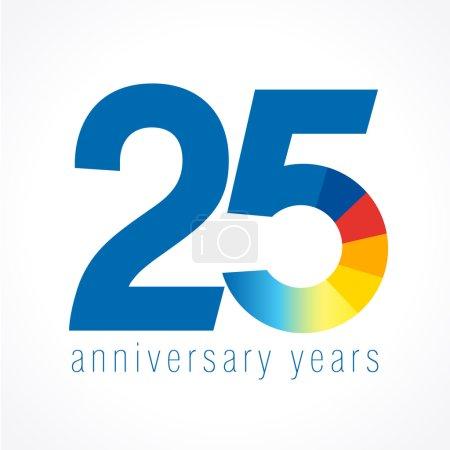 Illustration pour Logo de 25 ans avec graphique à secteurs. Année anniversaire de 25 numéros de bannière ronde vectorielle. Cercle de salutations d'anniversaire célèbre. Célébration des chiffres. Figures colorées des âges . - image libre de droit