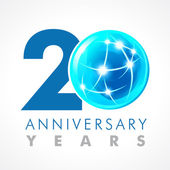 20 years old celebrating connecting logo Anniversary year of 20 th vector template with volume cosmos 0 Greetings ages celebrates Technologies communicating sign with lighting flashes and sparks