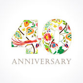 40 years old luxurious celebrating folk logo Template colored 40 th happy anniversary greetings ethnics flowers plants paradise birds Set of traditional vintage colorful congratulations of love