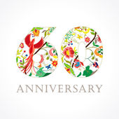 60 years old luxurious celebrating folk logo Template colored happy anniversary greetings ethnics flowers plants paradise flying birds Set of traditional vintage colorful congratulations of love