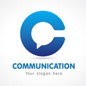 C letter communication logo Business or educational consult blue colored volume sign FAQ IQ contact us computer or smartphone settings speak icon