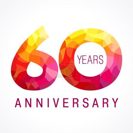 Illustration pour 60 ans célébrant logo ardent. Anniversaire flambée année de 60 e. Le vecteur félicite les nombres 0 flamboyants. Salutations flamboyantes célèbre avec volume. Chiffres et flammes de vitraux. Chiffres mosaïques . - image libre de droit