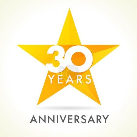 Illustration pour 30 ans célébrant le logo de l'étoile. 30 e anniversaire vecteur félicite les numéros de couleur. Salutations célèbre de vainqueur. Vitrail en forme d'étoiles colorées. Mosaïque modèle de couleur or, meilleur signe d'offre . - image libre de droit