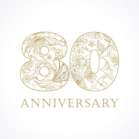 80 anniversary vintage numbers.