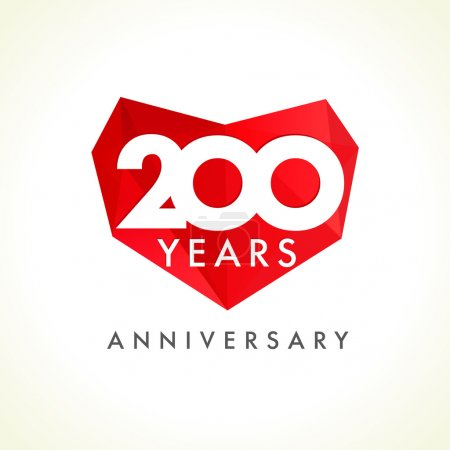 Two hundreds anniversary heart logo.