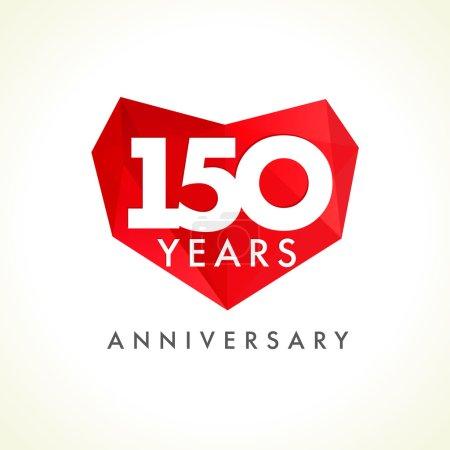 Illustration pour Anniversaire 150 cœurs ans célébrant le logo vectoriel. Salutations d'anniversaire, cadre en vitrail, forme de coeur. Belle teinte cent cinquante célébrant, 150 e. Luxueux 15ème, 50ème, 10ème facette . - image libre de droit