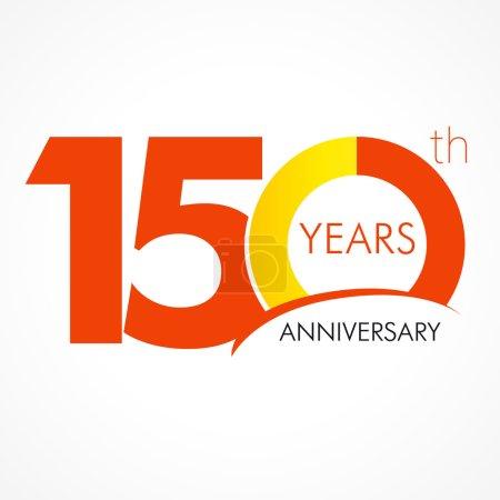 Illustration pour Anniversaire 150 ans célébrant logo. Salutations d'anniversaire cent cinquante célèbre. 100 ans célébrant logo classique. Chiffres traditionnels simples des âges 15ème, 50ème, 10ème ou merci . - image libre de droit