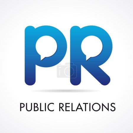 Illustration pour Relations publiques PR logotype de l'entreprise. Initiales pr icône de marquage de volume de couleur bleue avec des éléments de gabarit parlants ou parlants. Emblème de marque d'agence de publicité ou de promotion . - image libre de droit