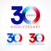 30 anniversary red and blue logo