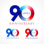 90 anniversary red and blue logo