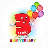 3 anniversary funny logo