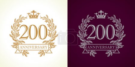 200 years old luxurious logotype. Congratulating 2...