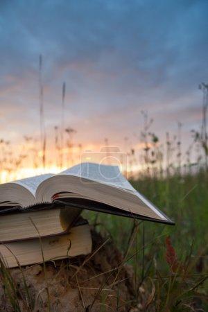 Photo pour Journal de bord à dos rigide ouvert, pages éventées sur fond de paysage naturel flou, allongé dans un champ d'été sur de l'herbe verte contre le ciel couchant avec contre-jour. Espace de copie, retour à l'école éducation de fond . - image libre de droit
