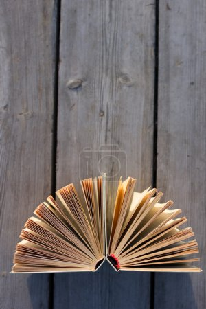 Open hardback book, fanned pages on wood planks. Summer spring background with open book. Back to school. Copy Space. Education background.